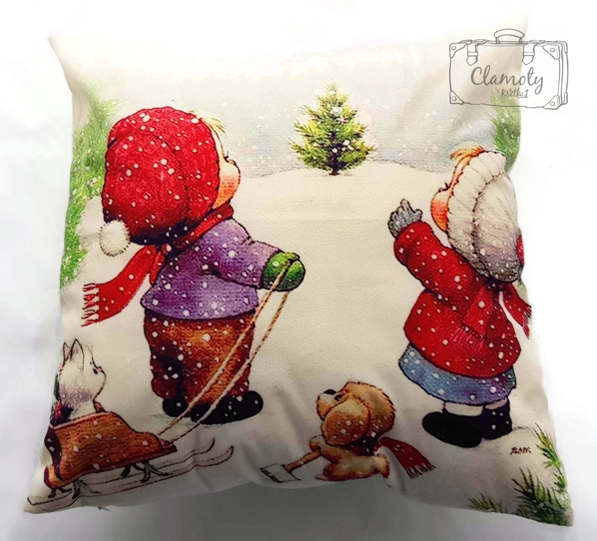 CHRISTMAS PILLOW CHILDREN WITH SLEDS